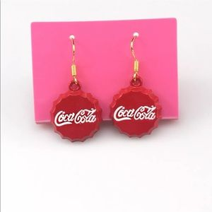Jewelry - 3 For $18 Red Coca Cola Bottle Cap Silver Earrings